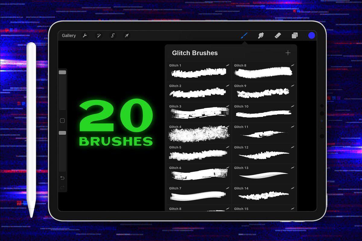 Procreate Glitch Lettering Brushes in 2020 Glitch