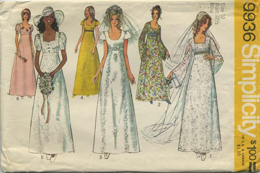 Vintage Wedding Dress Sewing Pattern Simplicity 9936