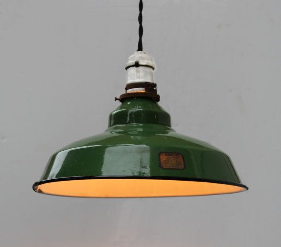 Vintage Green Enamel Pendant Light Fixture Barn With Antique Cloth Wireing Cir 1920s