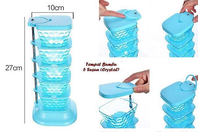 Tempat Bumbu 5 Susun Crystal MODEL PERSEGI (Bisa di putar dan setiap