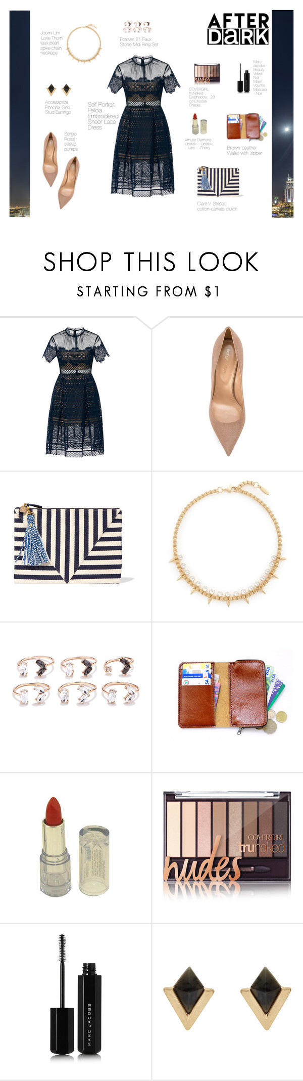 """""""Sin título #281"""" by yuruanimm ❤ liked on Polyvore featuring self-portrait, Sergio Rossi, Clare V., Joomi Lim, Forever 21, Marc Jacobs, Accessorize, modern and vintage"""