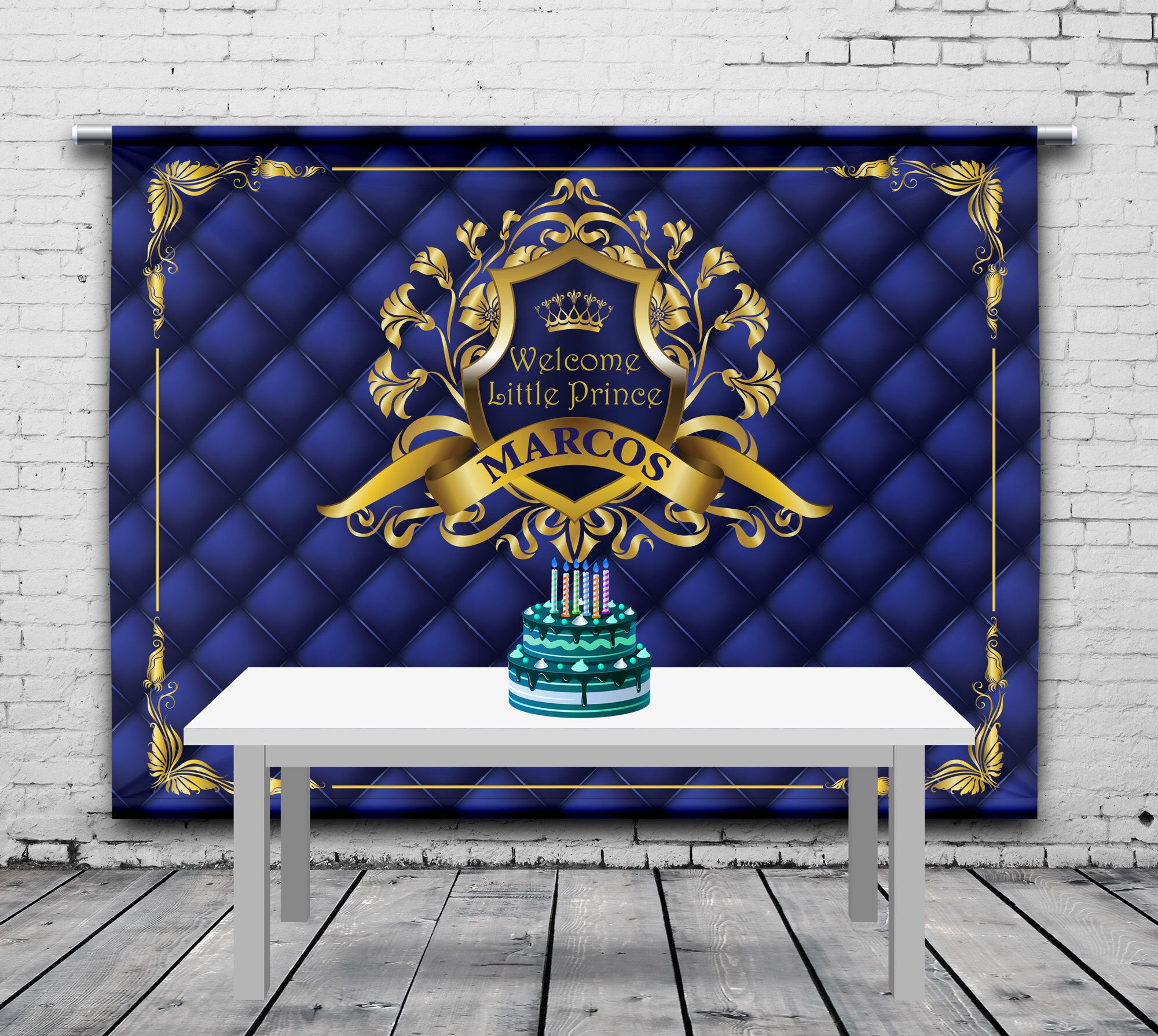 Welcome Baby Birthday Backdrop, Royal Blue, Gold, Personalized Banner, Little