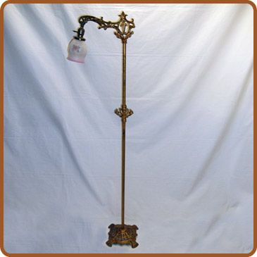 cast iron and brass bridge arm floor lamp   Guest room with ...
