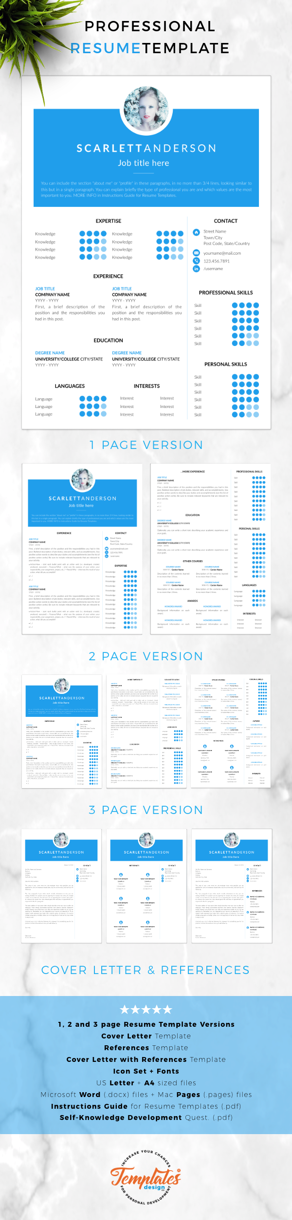 instant download creative resume template word