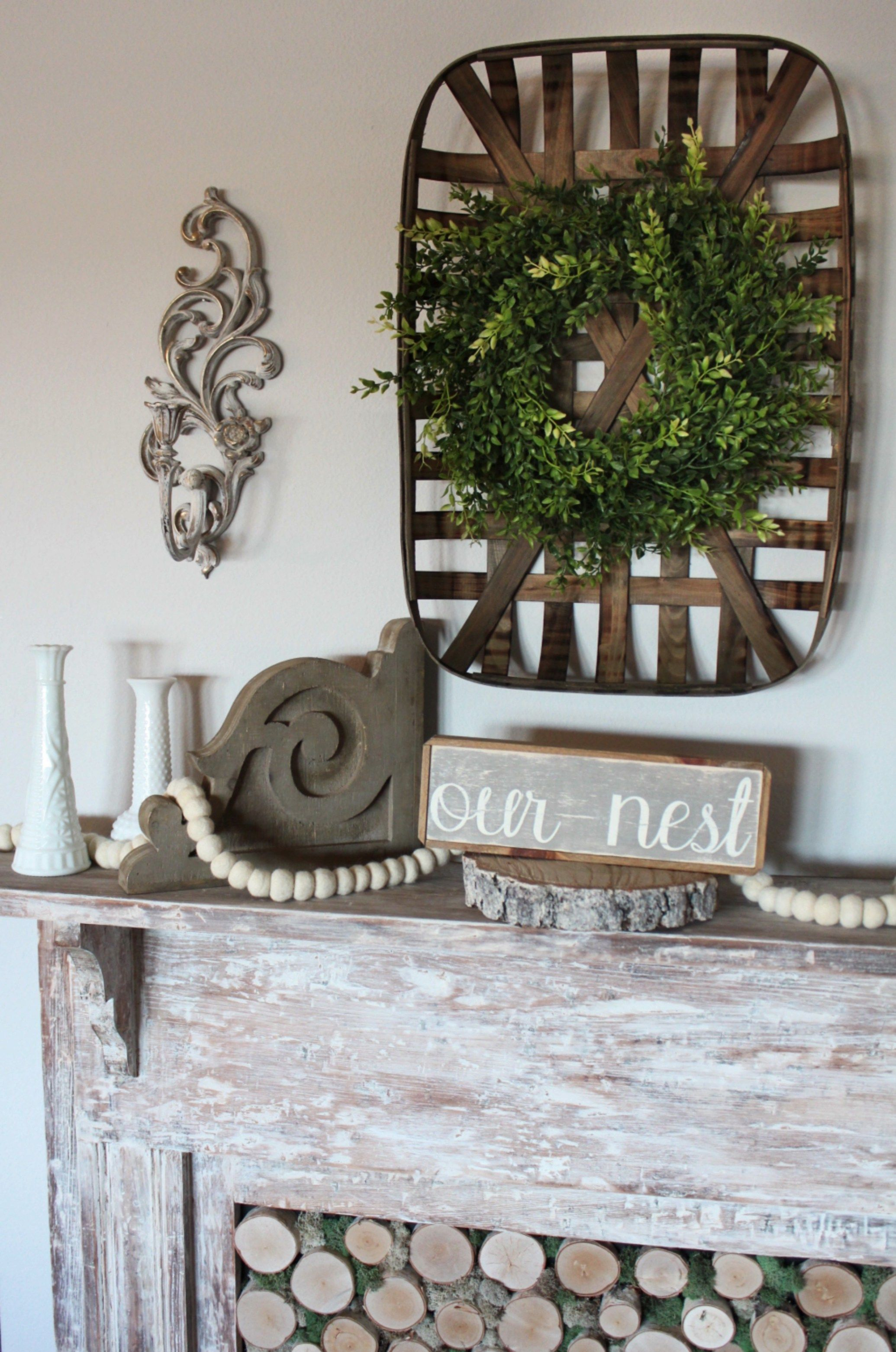 Faux Fireplace Mantel |  Repurpose and Upcycle - Featured at the Home Matters Linky Party 121