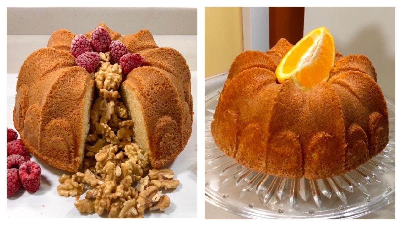 كيكة الحليب والفانيليا وكيكة البرتقال بمكونات موجودة في البيت Milk Cake And Orange Cake Food Waffles Breakfast