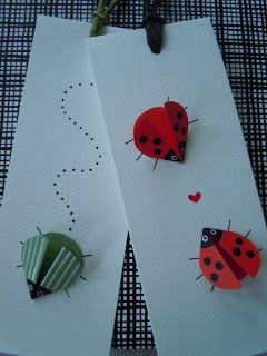 Ladybugs on cards, translated from Swedishl  How to fold paper to make ladybugs/birds.