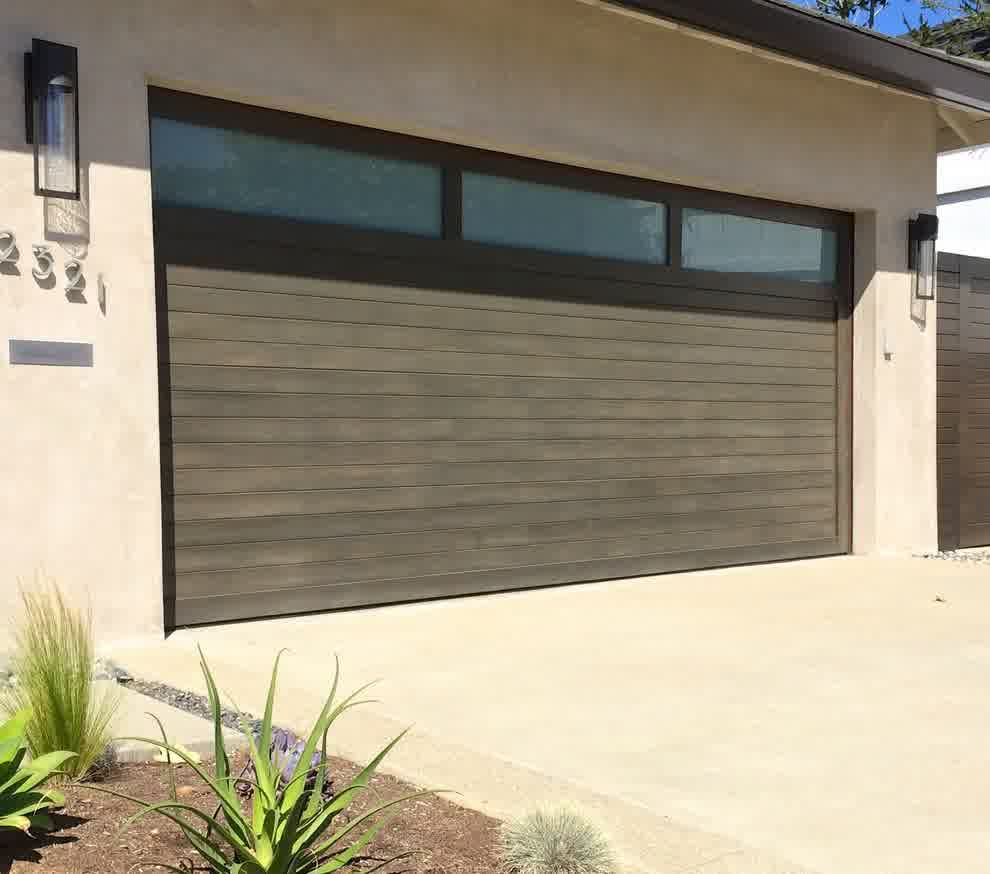 Mid century modern garage doors with windows -