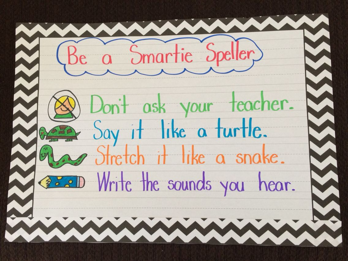 Smartie Speller Chart To Encourage Students To Sound Out