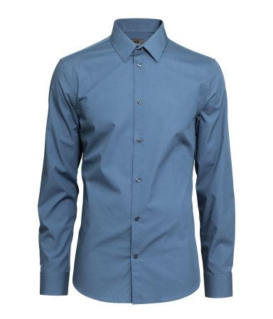 762894a4 Slate blue, long-sleeved, button down shirt in premium cotton with a turn- down collar. Slim fit. | H&M Men's Classics