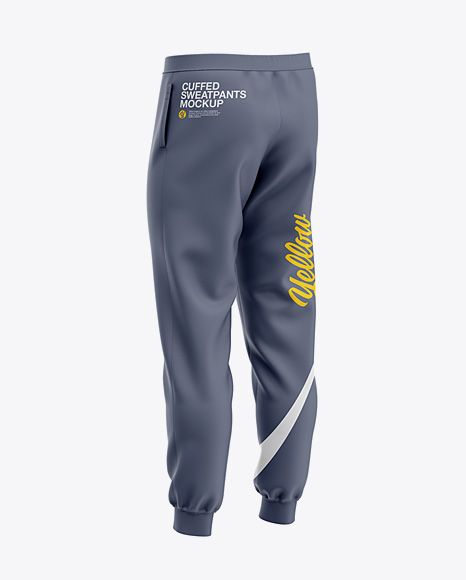 Mens Cuffed Sweatpants Back Right Half-Side View Jersey ...