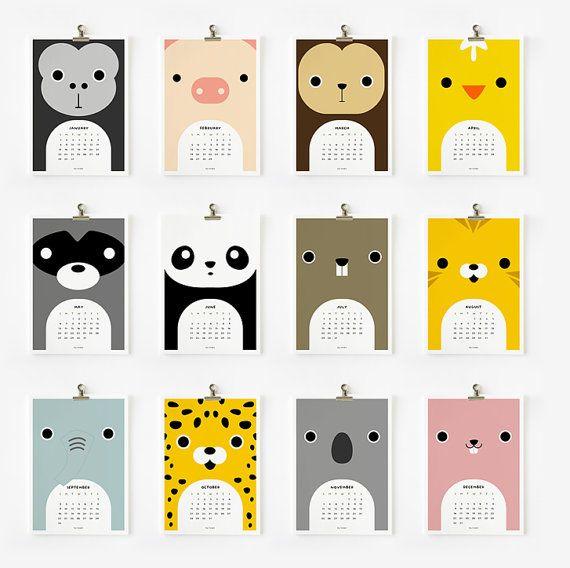 Animal calendar (via stella & henry)