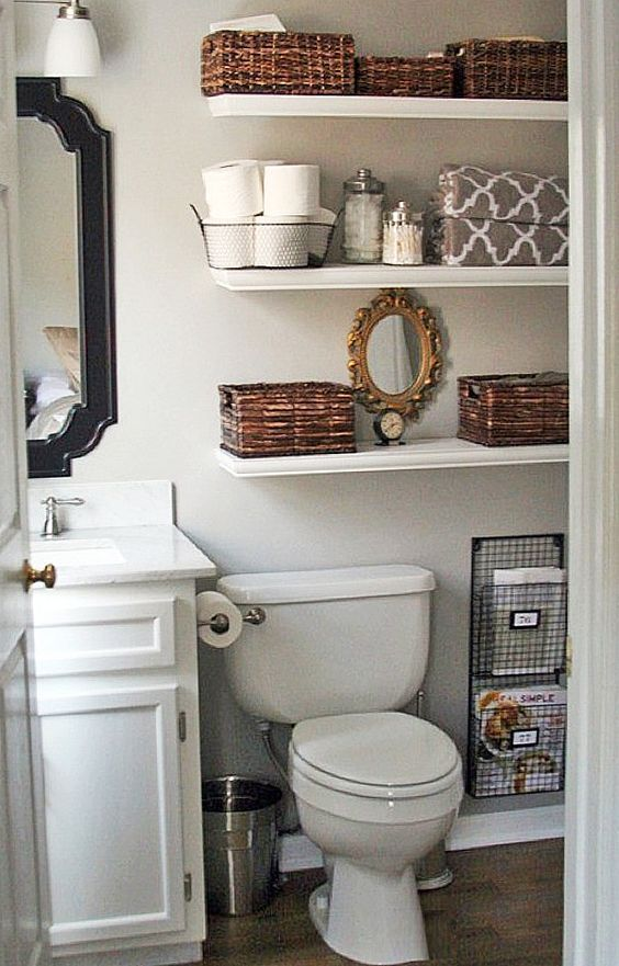 small bathroom, diy decor, storage, organize, toilet