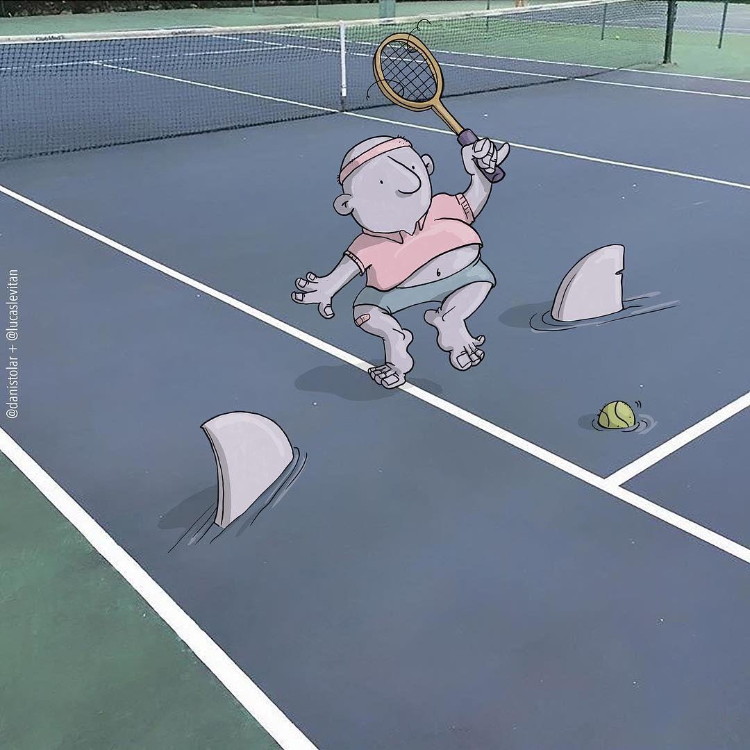 Tennis With Sharks Drawing By Lucaslevitan Instagram Lucas Levitan Doodle On Photo Disney Artwork