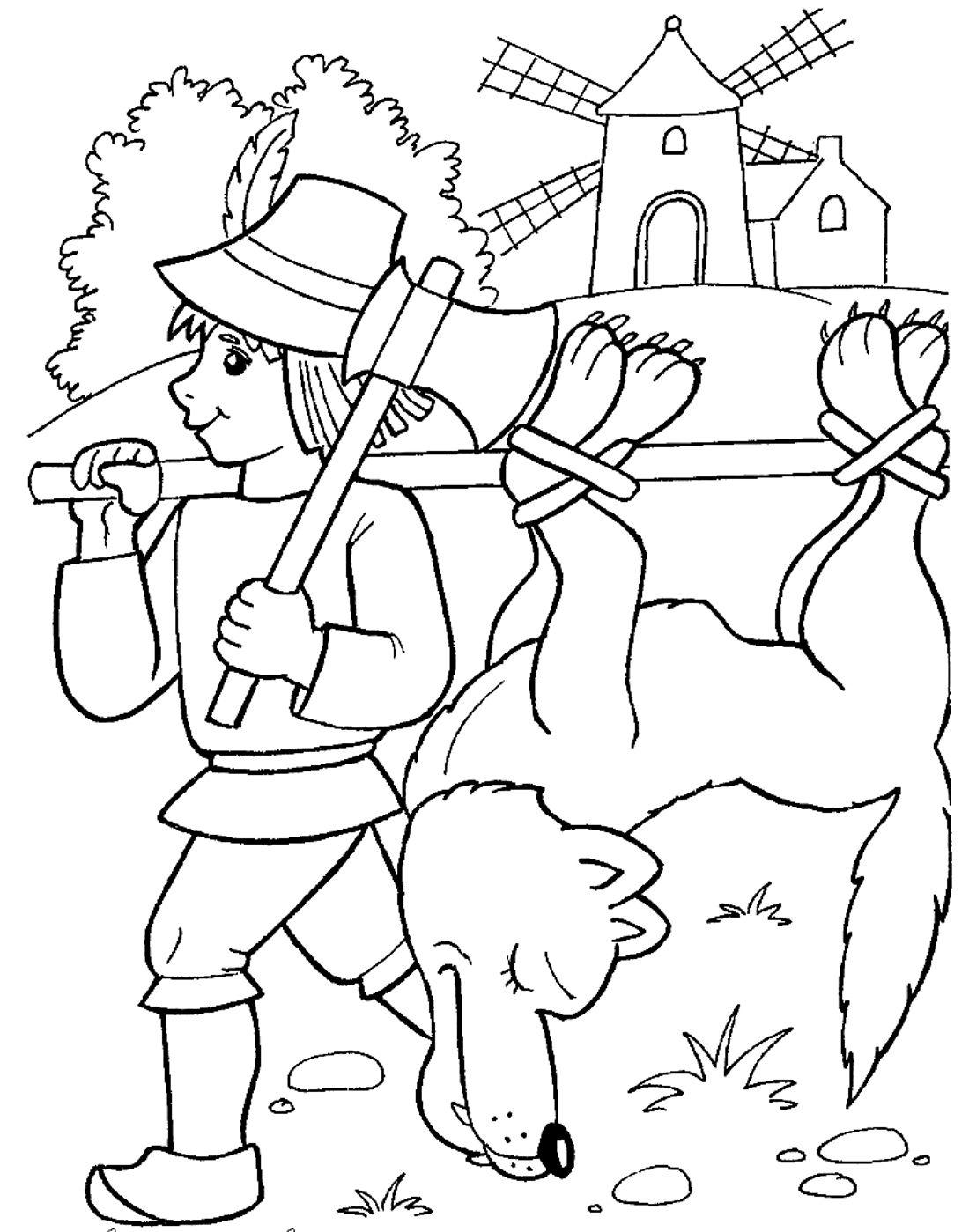 Раскраски по сказке Красная Шапочка: распечатать или ...
