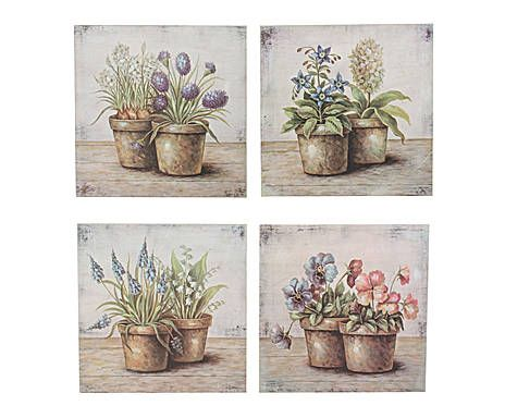 Set de 4 cuadros de madera Macetas