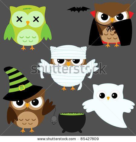 stock vector : Set of cute vector owls in Halloween costumes