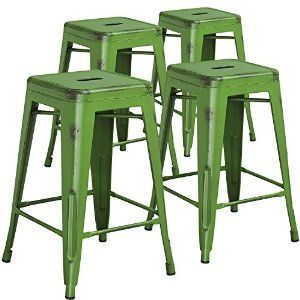 """Amazon.com: Flash Furniture High Backless Distressed Metal Indoor Counter Height Stool (4 Pack), Green, 24"""": Kitchen & Dining"""