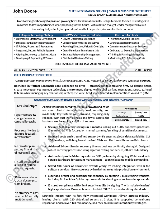 Executive Resume Sample Cio Technology Resume Sample Page 1 Executive Resume Resume Job Resume Examples