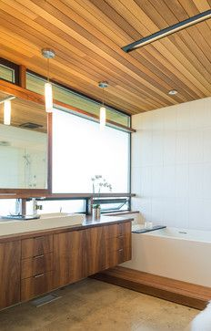 Cedar Ceiling Custom Vanity Pendant Lights Contemporary Bathroom Seattle Coo Contemporary Bathroom Inspiration Contemporary Kitchen Modern House Design