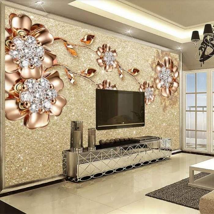 Custom Photo Wallpaper 3d Living Room Tv Sofa European Jewelry Flower Large Mural 3d Wall Murals Wallpap Mural Wallpaper Wallpaper Living Room Wallpaper Modern