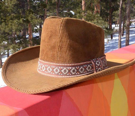 vintage 70s COWBOY HAT corduroy western bee woven hatband Cowboy Hats 4f195c3c648