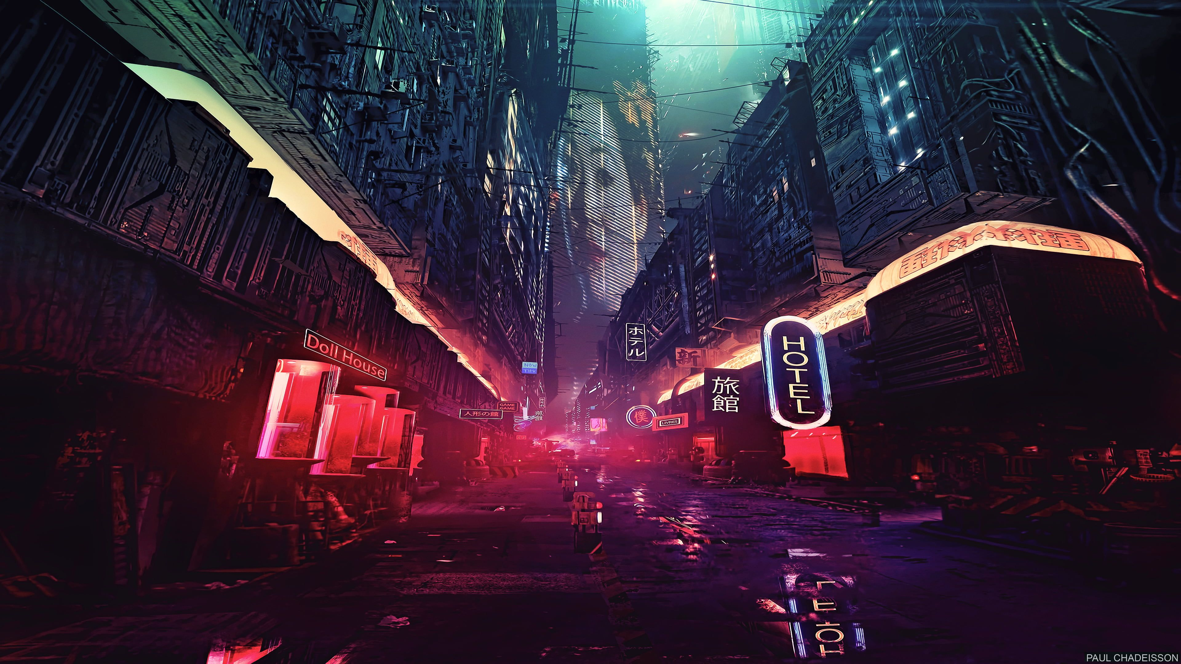 Lighted Building Illustration Movie Scene Night Artwork Futuristic City Cyberpunk Cyber Science Fictio Futuristic City Building Illustration Art Wallpaper