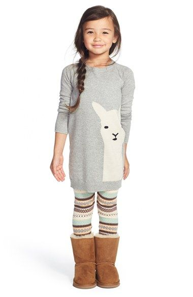 Free Shipping And Returns On Tucker Tate Icon Sweater Dress Toddler Girls Little Girls Big Girls At Nordstrom Com An Adorable Llama Graces The