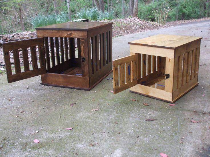 Dog Crate End Table, Wooden Dog Kennel, Indoor Wood Dog