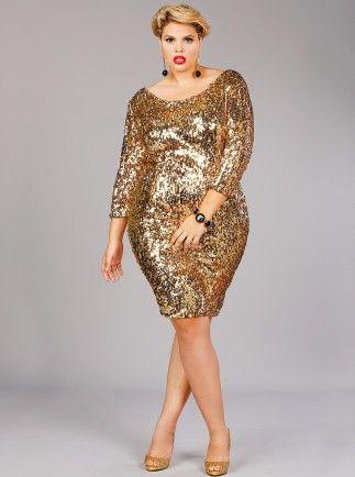 Josephine Sequins Party Dress Gold - Monif C Plus Size Curvy ...