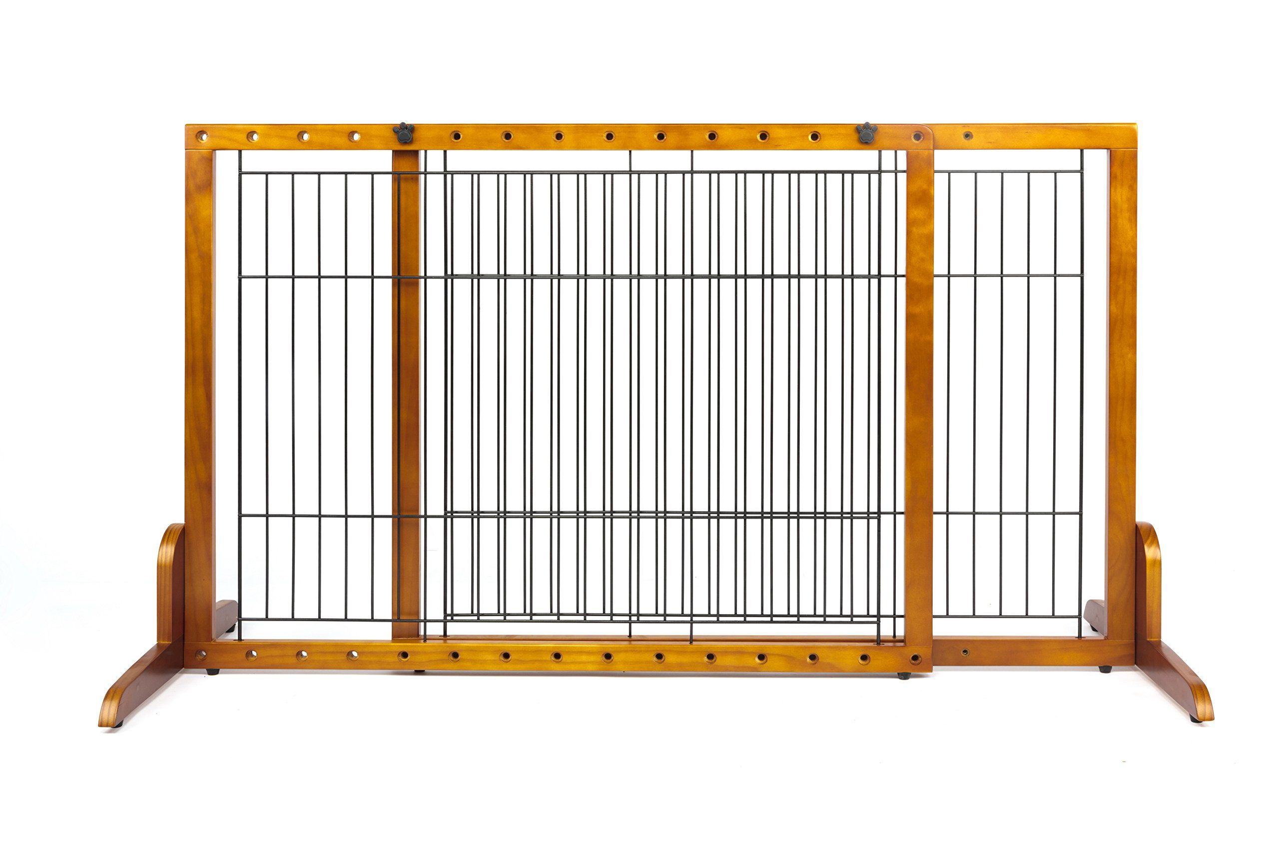 Simply Plus Wooden Pet Gate No Door Freestanding Pet Dog Gate For Indoor Home And Office Use Keeps Pets Safe Easy Set Up N Wooden Pet Gate Dog Gate Pet Gate