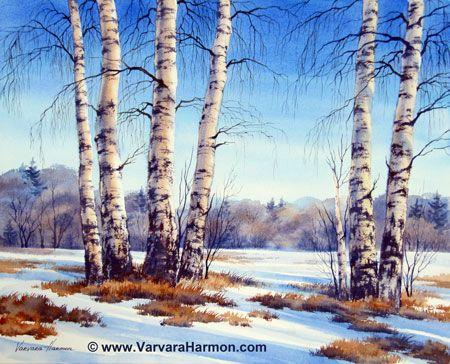 Spring Birch, Original watercolor painting by Varvara Harmon