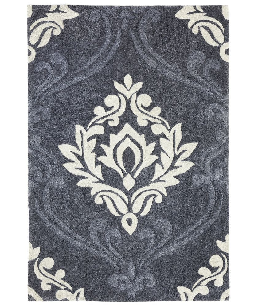 Heart Of House Sofia Damask Rug 120 X 160cm Grey At Argos Co