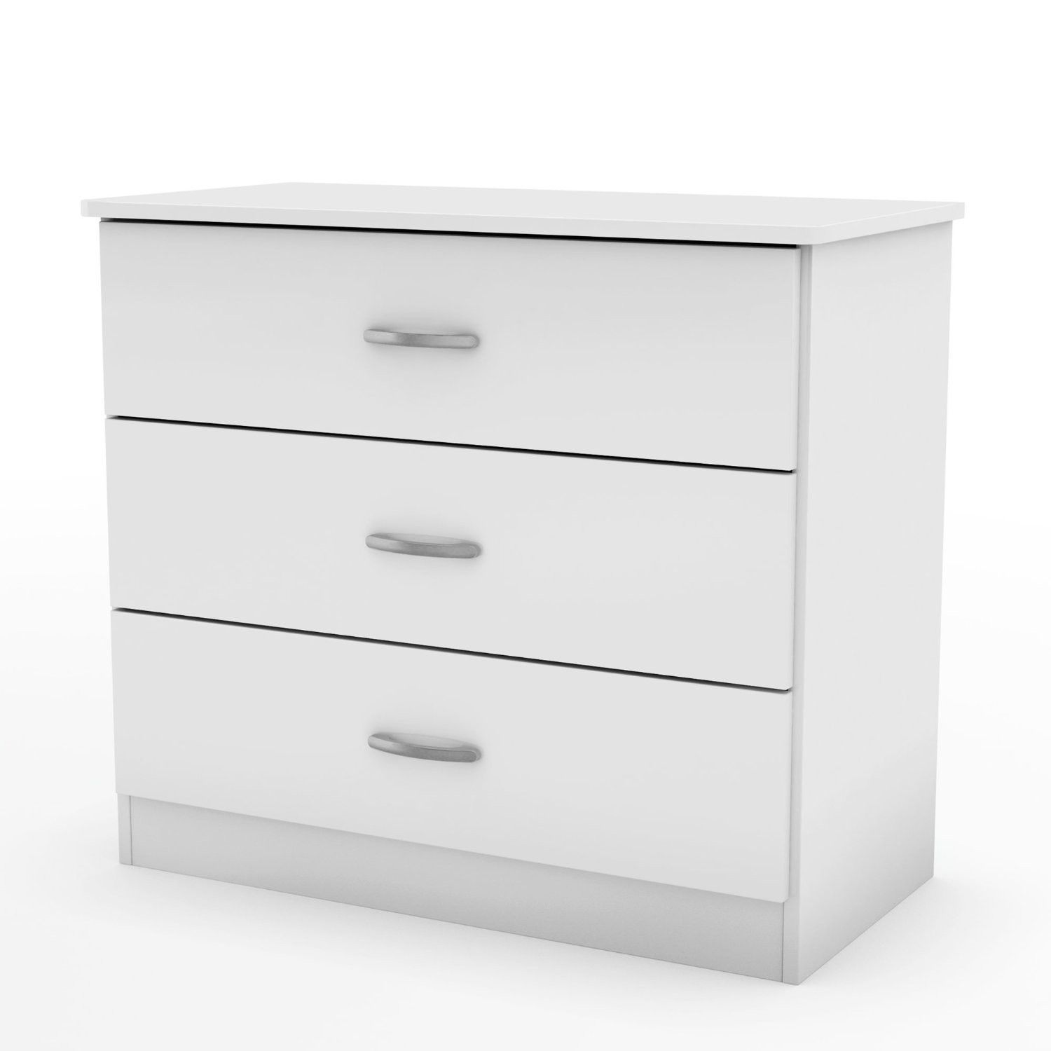 White Modern Bedroom Chest Dresser with 3 Drawers is part of Modern bedroom Storage - This White Modern Bedroom Chest Dresser with 3 Drawers coordinates with virtually any décor thanks to its contemporary styling and sleek and simple lines  Fully functional and adaptable, it will meet all your needs — from clothes storage in its three spacious drawers, to serving as a stand for your various decorative items, or even as a solid base for your TV  It has also been designed with safety in mind, featuring rounded corners  Antique finish metal handles are adding value to the furniture  This chest is made of recycled CARB compliant particle pannels  The glides are made of polymer and include dampers and catches, creating a secure environment for little ones  This chest has to be assembled by two adults  Measures 31 inches wide by 16 25 inches deep by 28 75 inches high  It is delivered in one box measuring 38 inches by 20 inches by 8 25 inches and weighs 58 pounds  Tools are not included  5 year warranty  Made in Mexico  Manufacturer style number 3050033   White Modern Bedroom Chest Dresser with 3 Drawers Contemporary 3 drawer chest Manufactured from CARB compliant composite wood carrying the Forest Stewardship Council (FSC) certification Lifetimewarranted polymer drawer glides that include dampers and stops; antique finish metal handles Assembly required by two adults Tools not provided To clean, use a soft dry cloth Made in Mexico 5year warranty  Dimensions   31 x 16 2 x 28 8 inches Weight 56lbs  Shipping Weight 59 2lbs