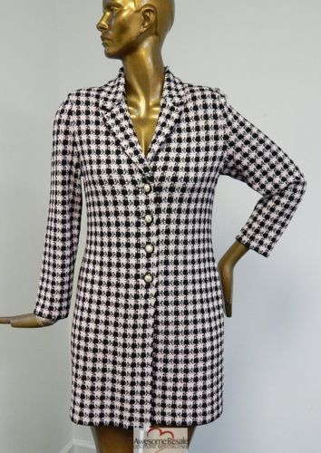 St-John-Collection-Pink-Black-Houndstooth-Check-Print-Knit-Long-Coat-sz-6-USA