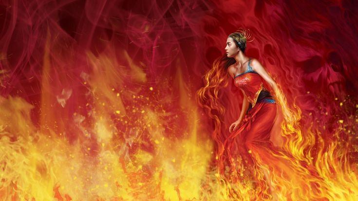 Скачать обои огонь, пламя, рисунок, персонаж, картинки ...