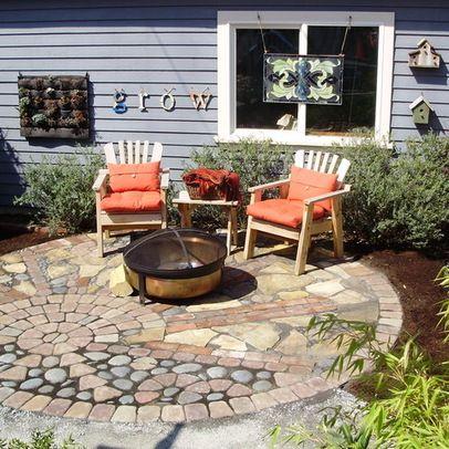 Mixed materials patio garden hardscape pinterest for Patio materials