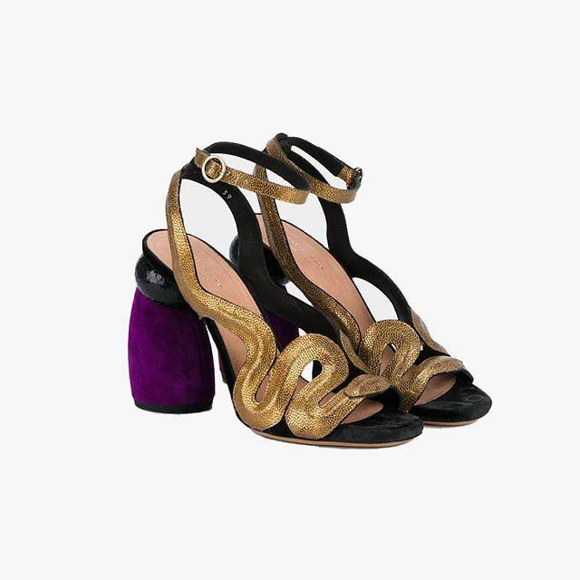 707c277804abb9 Dries Van Noten chunky-heel metallic sandals