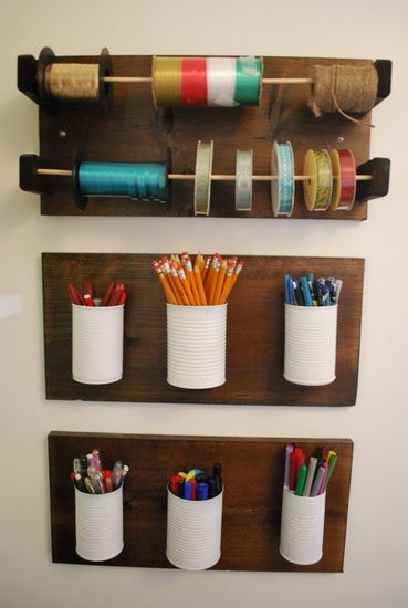 DIY Office Storage. Could replace one of the rows (maybe one with ribbon) with an area for hooks that have cords hanging from them/wrapped around them. Good for small/light items.