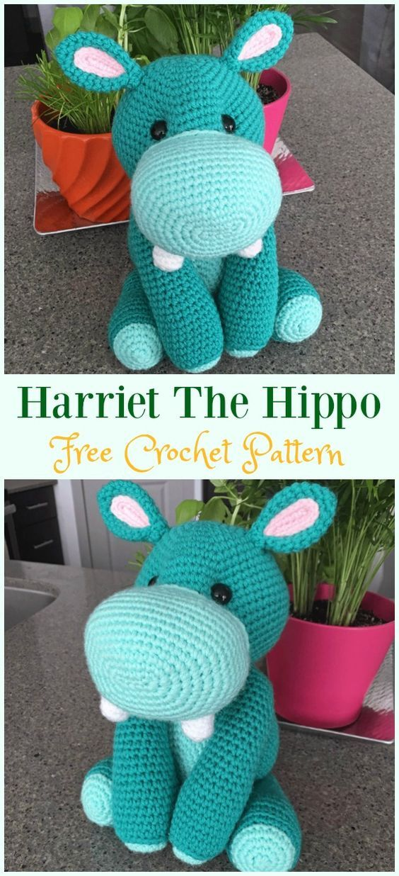 Amigurumi Crochet Hippo Toy Softies Free Patterns | hračky ...
