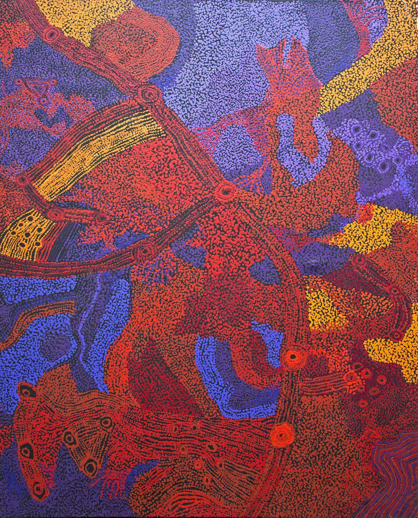 Sylvia Kanytjupai Ken - Seven Sister Dreaming Time stories - 152 x 122 cm http://www.aboriginalsignature.com/art-aborigene-tjala/sylvia-kanytjupai-ken-seven-sister-dreaming-time-stories-152-x-122-cm