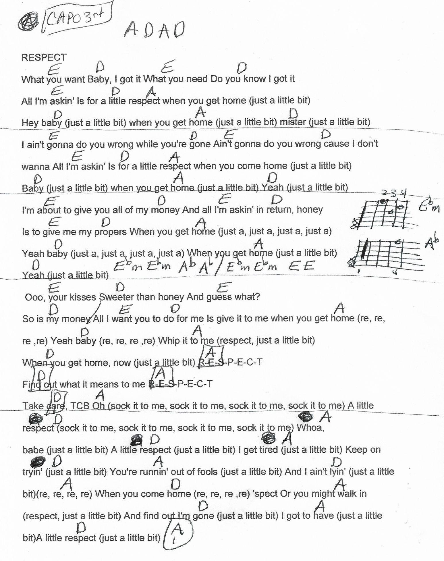 Respect Aretha Franklin Guitar Chord Chart Capo 3rd 2018