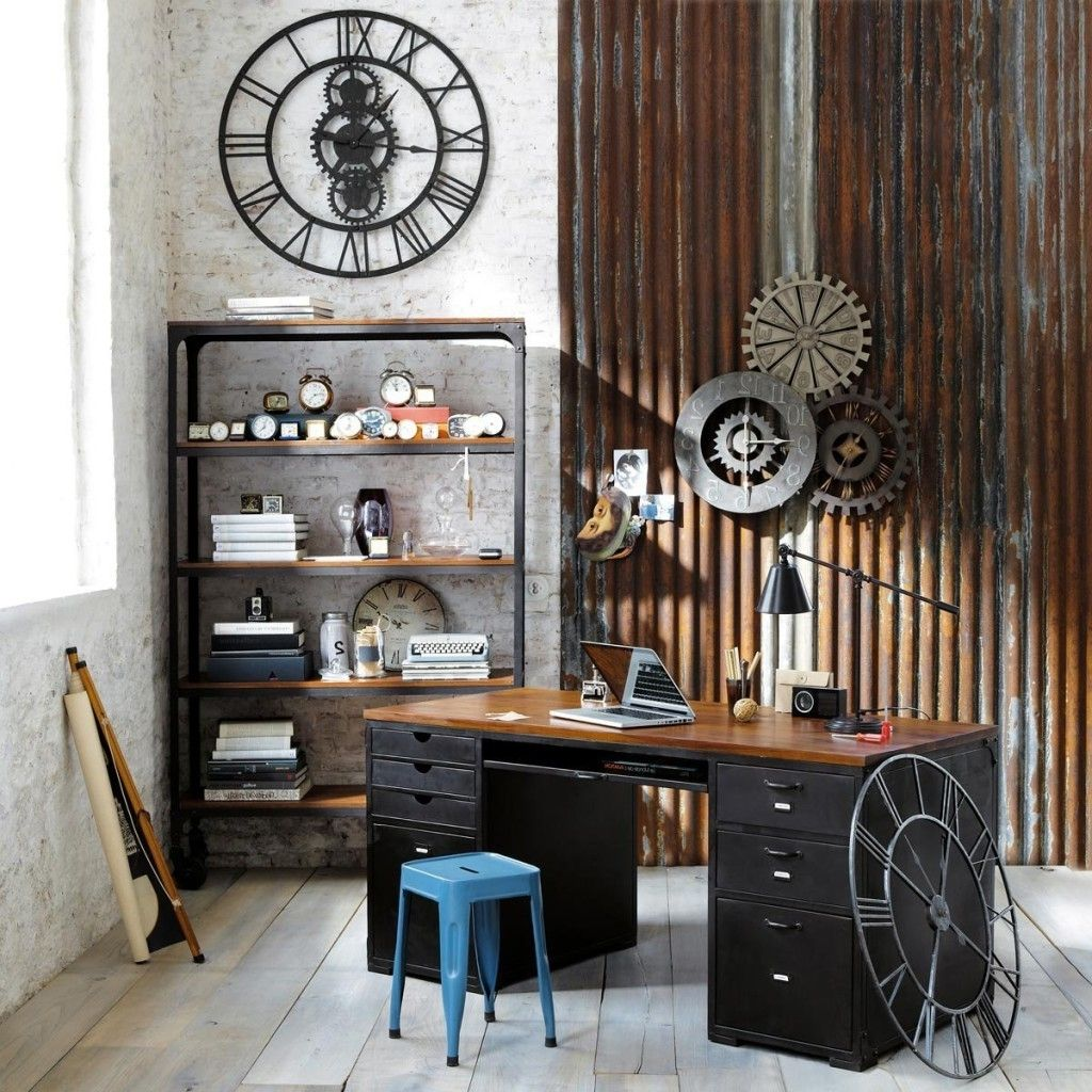Industrial Office Design home-office-wall-decor-rustic-industrial-mechanice-design