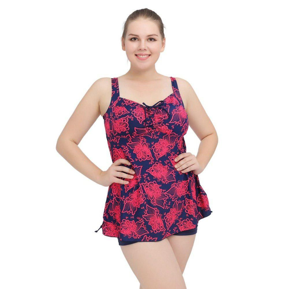 ac94d9b9c6a 2018 New summer Women Floral Printed Plus Size Swimwear Skirts With Shorts Bathing  Suits Beachwear large size Swimwea XL-6XL. Yesterday s price  US  21.24 ...