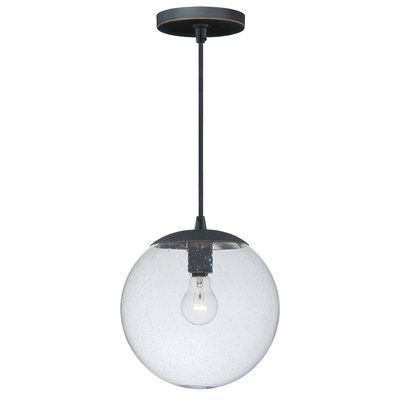 Vaxcel 630 Series 1 Light Globe Pendant Finish Black Iron Shade