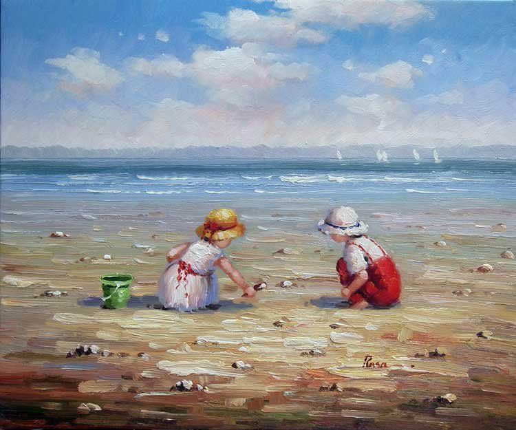 antique beach painting - Google Search