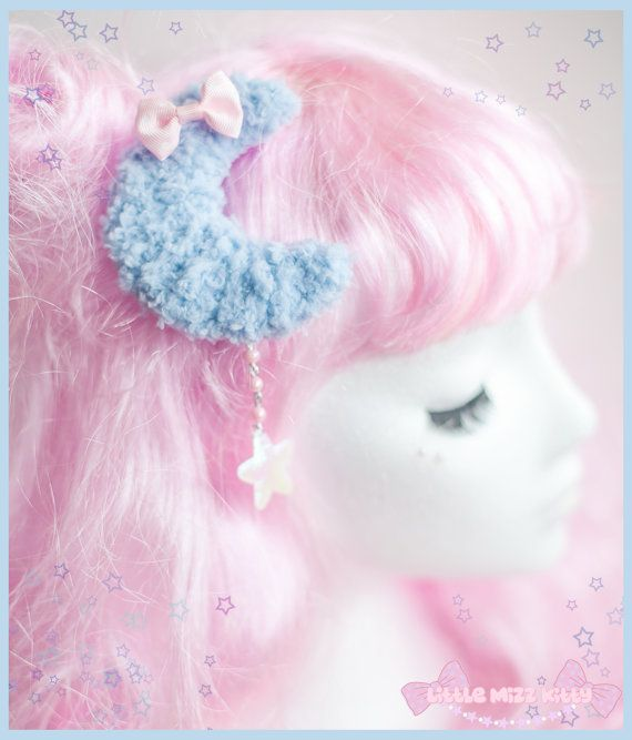 Fairy Kei Two-Way Fuzzy Cosmic Moon Hair Clip/Brooch