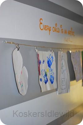 The Kids Clothesline Fascinating Display Kids Artwork On A Clothesline In Your Hallway  For The Review