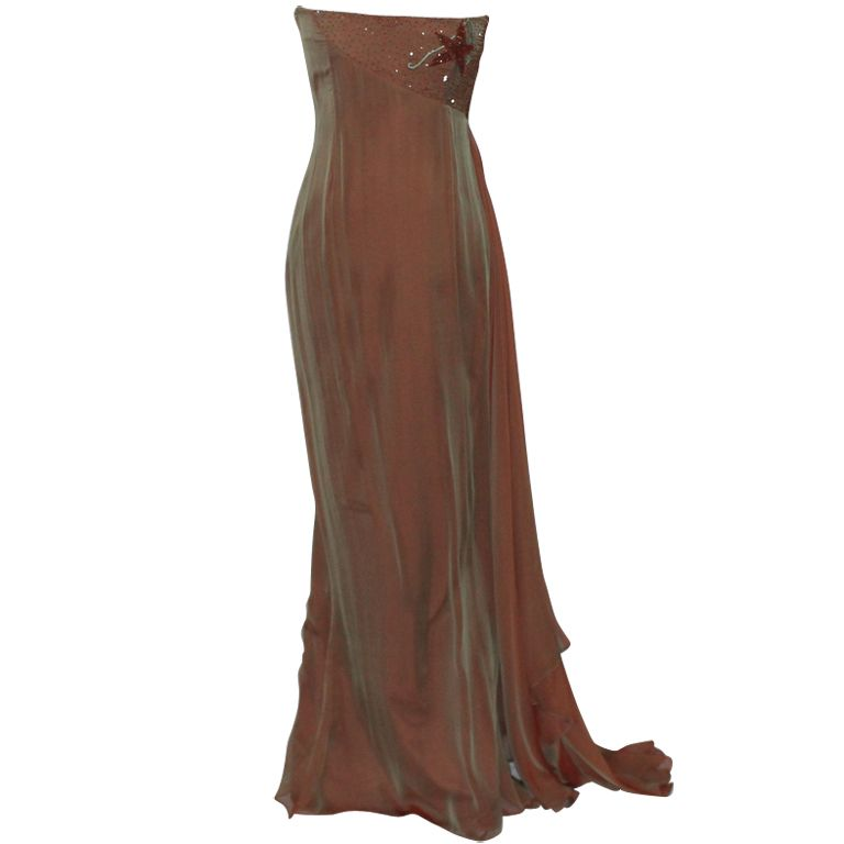 Guy Laroche Copper Silk and Chiffon Gown | From a collection of rare vintage evening dresses at https://www.1stdibs.com/fashion/clothing/evening-dresses/