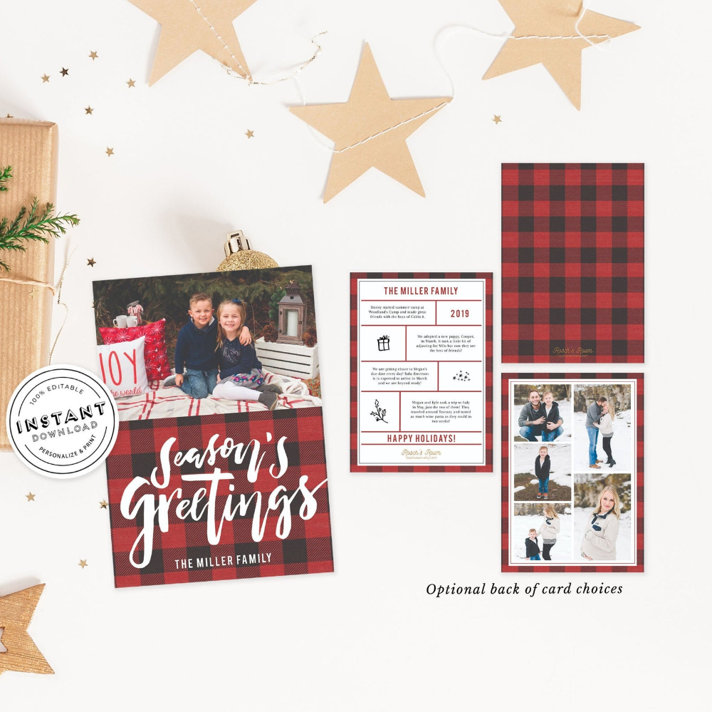 Photo Christmas Card Editable Template Buffalo Plaid Card Family Christmas Card Year In Review Printable Buffalo Check Xmas Card Diy Family Christmas Cards Christmas Photo Cards Xmas Cards